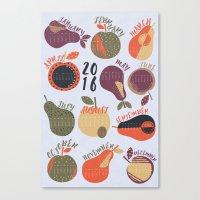 calendar Canvas Prints featuring 2016 Calendar by Mel Armstrong
