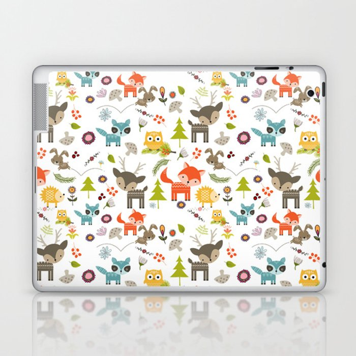 Cute Woodland Creatures Pattern Laptop & iPad Skin