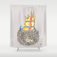 vonnegut Shower Curtains featuring Lucky Mud Lucky Me by Hayley Powers Studio