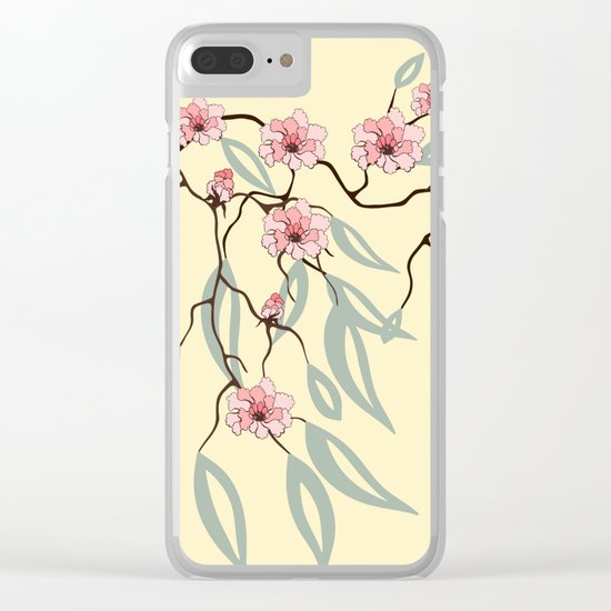 Floral. Dreams of spring. Pink sakura. Clear iPhone Case