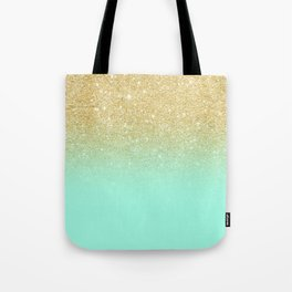 Modern gold ombre mint green block Tote Bag