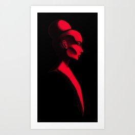 Red Cameo Art Print