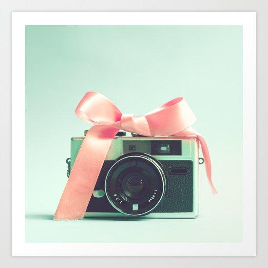 Retro Camera and Pink Bow II Art Print