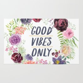 Wreath Good Vibes Only with purple flowers Rug