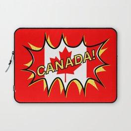 Canadian Flag Comic Style Starburst Laptop Sleeve