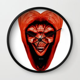 Red Haired Skull Wall Clock