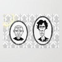 221b Area & Throw Rugs featuring 221B Baker Street - Sherlock and Watson by Birds & Kings
