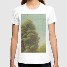 Fluffy Tree SMALL White Womens Fitted Tee
