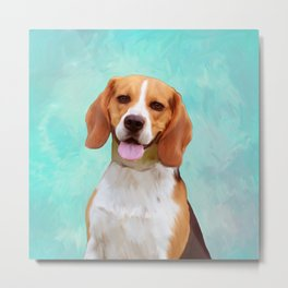 Beagle Dog Art Portrait Metal Print