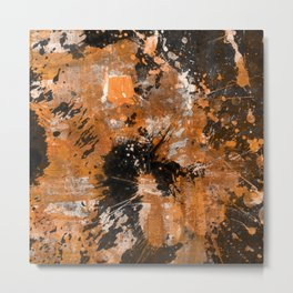 Rusting Darkness - Abstract in gold, black and white Metal Print