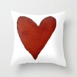 Hand-painted Watercolour red heart Throw Pillow