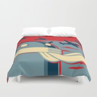 propaganda Duvet Covers featuring Code for Victory Propaganda by Dimko