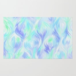 Preppy Blue Watercolor Abstract Ripples Rug