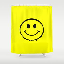 smiley face rave music logo Shower Curtain