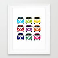vw Framed Art Prints featuring VW Campervan by chauloom