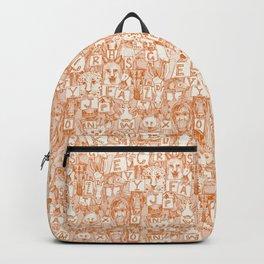 animal ABC orange ivory Backpack