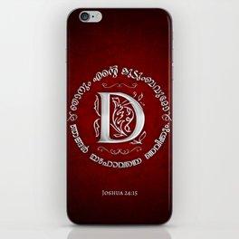 Joshua 24:15 - (Silver on Red) Monogram D iPhone Skin