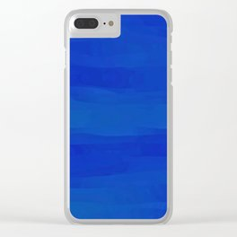 Subtle Cobalt Blue Waves Pattern Ombre Gradient Clear iPhone Case