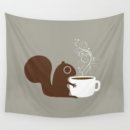 Squirrel Coffee Lover Wall Tapestry