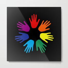 Rainbow hands Metal Print