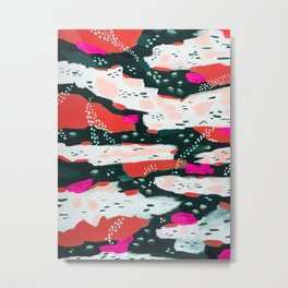 Spotted Abstract in Hot Red-Pink Metal Print