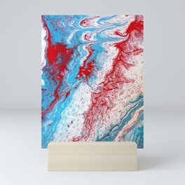 Marble Red Blue Paint Splatter Abstract Painting by Jodilynpaintings Red Mini Art Print