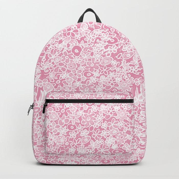 Flower doodle in rose Backpack