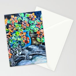 Cat and Nasturtiums Stationery Cards