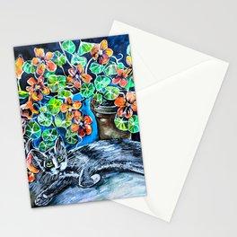 Cat and Nasturtiums Stationery Cards