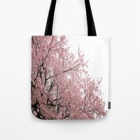 cherry blossoms Tote Bags featuring cherry blossoms by 2sweet4words Designs