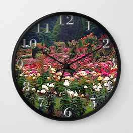 Impresion of a Rose Garden Wall Clock
