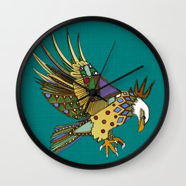 jewel eagle turquoise Wall Clock