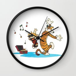 calvin and hobbes dancing with music Wall Clock