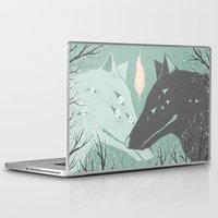 wolves Laptop & iPad Skins featuring Wolves by Kelsey King Illustration