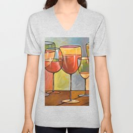 Whites and Reds ... abstract wine glass art, kitchen bar prints Unisex V-Neck