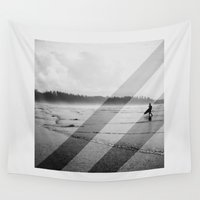 surfer Wall Tapestries featuring BW Surfer by Deep | Love | Photography