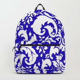 Paisley Damask Blue and White Backpack