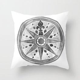 Watercolor Compass gray Throw Pillow