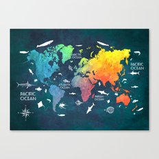 Ocean World Map color Canvas Print