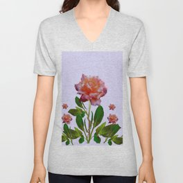 ANTIQUE PINK ROSES BOTANICAL ART Unisex V-Neck