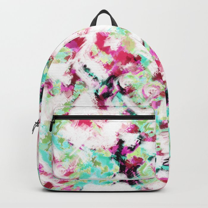 Abstract pattern white green pink . Backpack