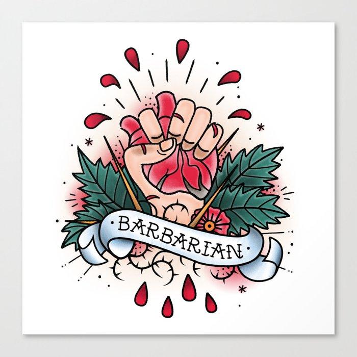 Barbarian - Vintage D&D Tattoo Canvas Print