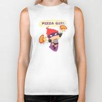 superheros Biker Tanks featuring Pizzagirl by Alapapaju