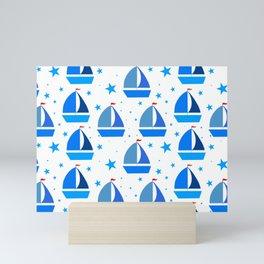blue sail boats  Mini Art Print
