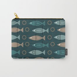 Mid Century Modern Fish Pattern Dark Teal Bronze Carry-All Pouch