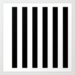 Black & White Vertical Stripes - Mix & Match with Simplicity of Life Art Print