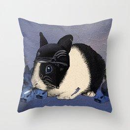 Blue Biker Bunny Print Throw Pillow