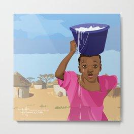 African Village Girl Metal Print