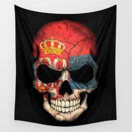 Dark Skull with Flag of Serbia Wall Tapestry