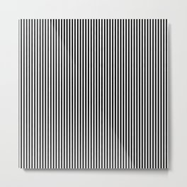 Classic Black and White Pinstripe Pattern Metal Print